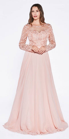Beaded Embroidered Empire Waist Chiffon Dress Peach Full Length