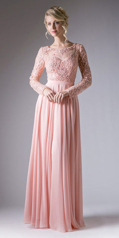 Cinderella Divine CR780 Beaded Embroidered Empire Waist Chiffon Dress Peach Full Length