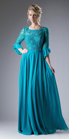 Beaded Lace Bodice Chiffon Empire Waist Dress Teal
