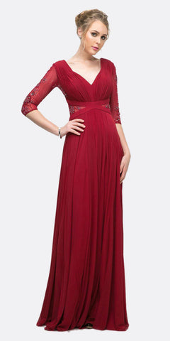 V-Neck and Back Long Formal Dress with Slit Burgundy
