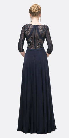 Cinderella Divine CR785 Long Beaded Embroidered Chiffon Empire Waist Dress Navy Blue