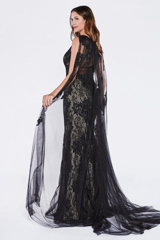 Cinderella Divine CR788 Full Length Black Lace Sheath Dress With Sheer Cape