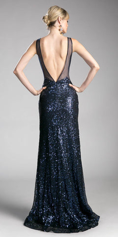 Sequins Evening Gown V-Shape Open Back with Slit Navy Blue