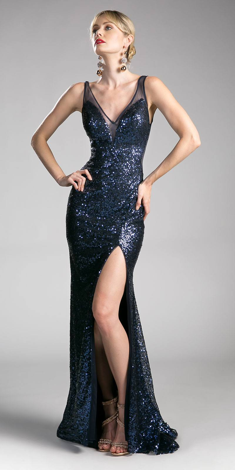 Cinderella Divine CR801 Sequins Evening Gown V-Shape Open Back with ...
