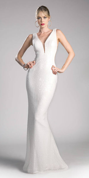Cream Sleeveless Floor Length Sequins Prom Dress V-Neck