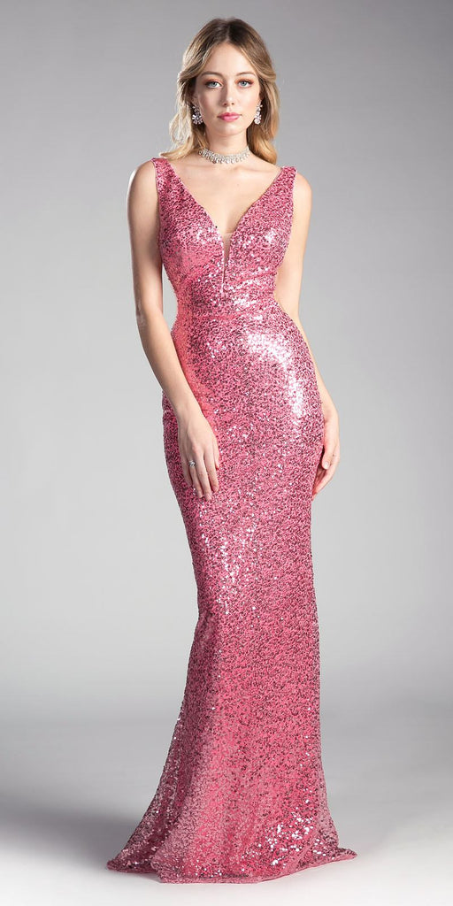 Fuchsia Sleeveless Floor Length Sequins Prom Dress V-Neck