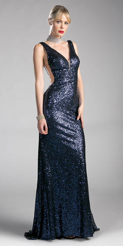 Navy Blue Sleeveless Floor Length Sequins Prom Dress V-Neck
