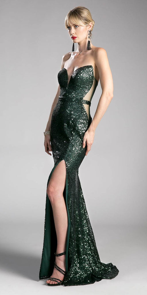 Sequins Hunter Green Strapless Evening Gown Sweetheart Neckline with Slit