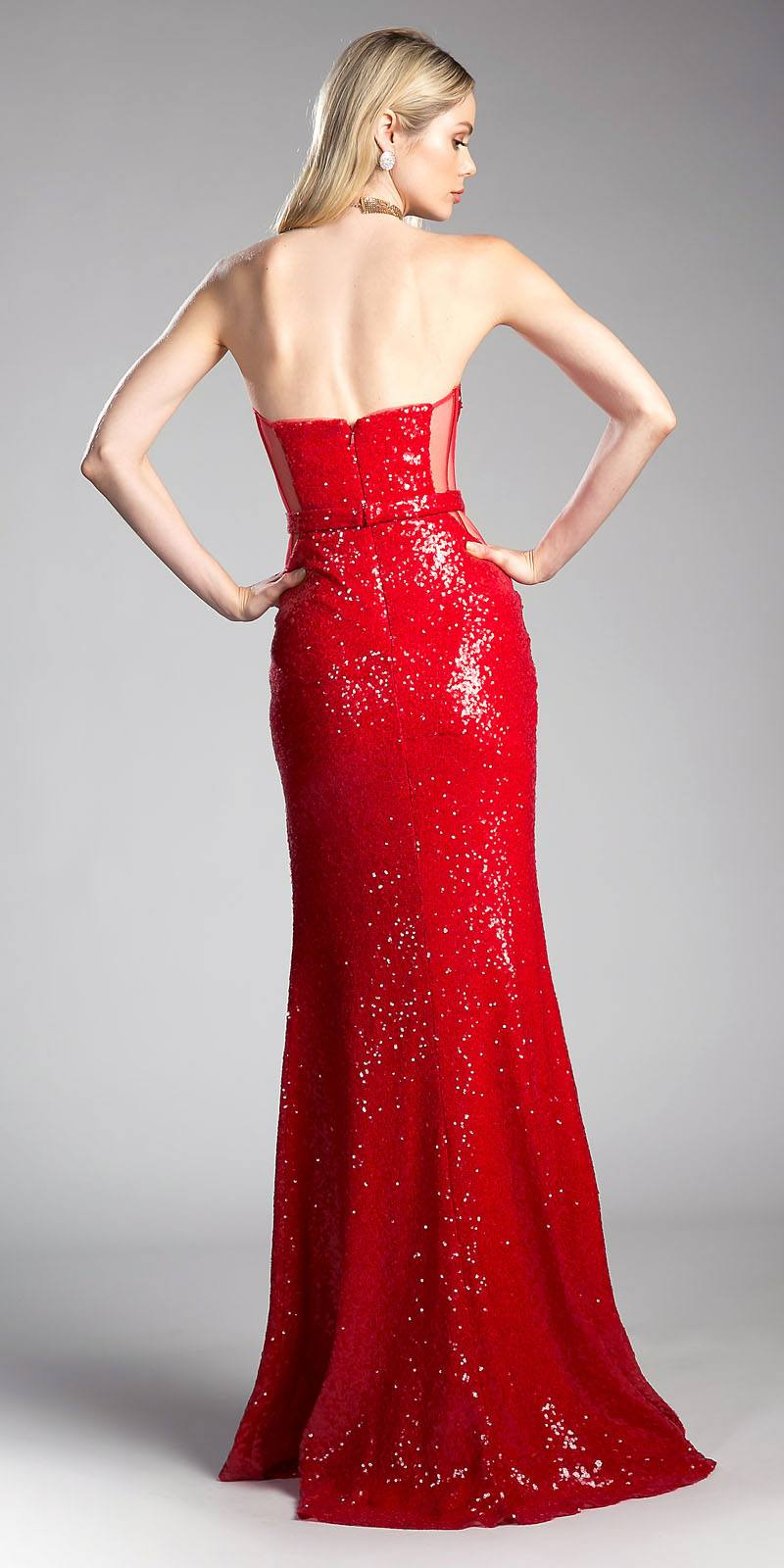 6b57d102d79a9 ... Sequins Red Strapless Evening Gown Sweetheart Neckline with Slit ...