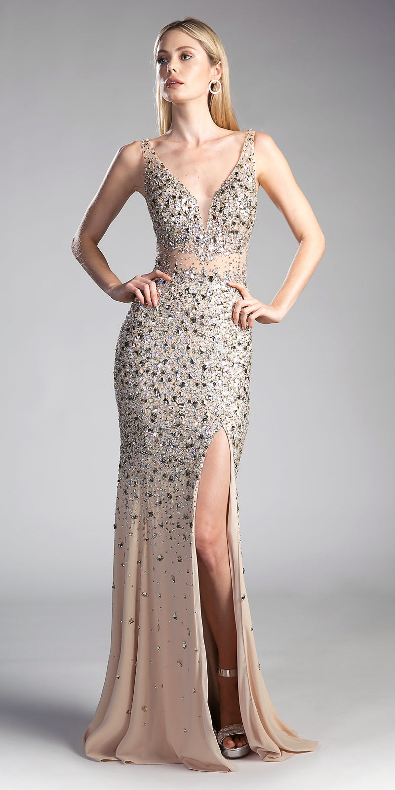 Cinderella Divine CR805 Gold Long Beaded V-Neck Prom Dress Sheer ...