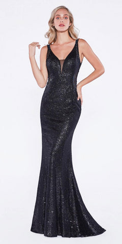 Sequins Beaded V-Back Floor Length Prom Dress Black