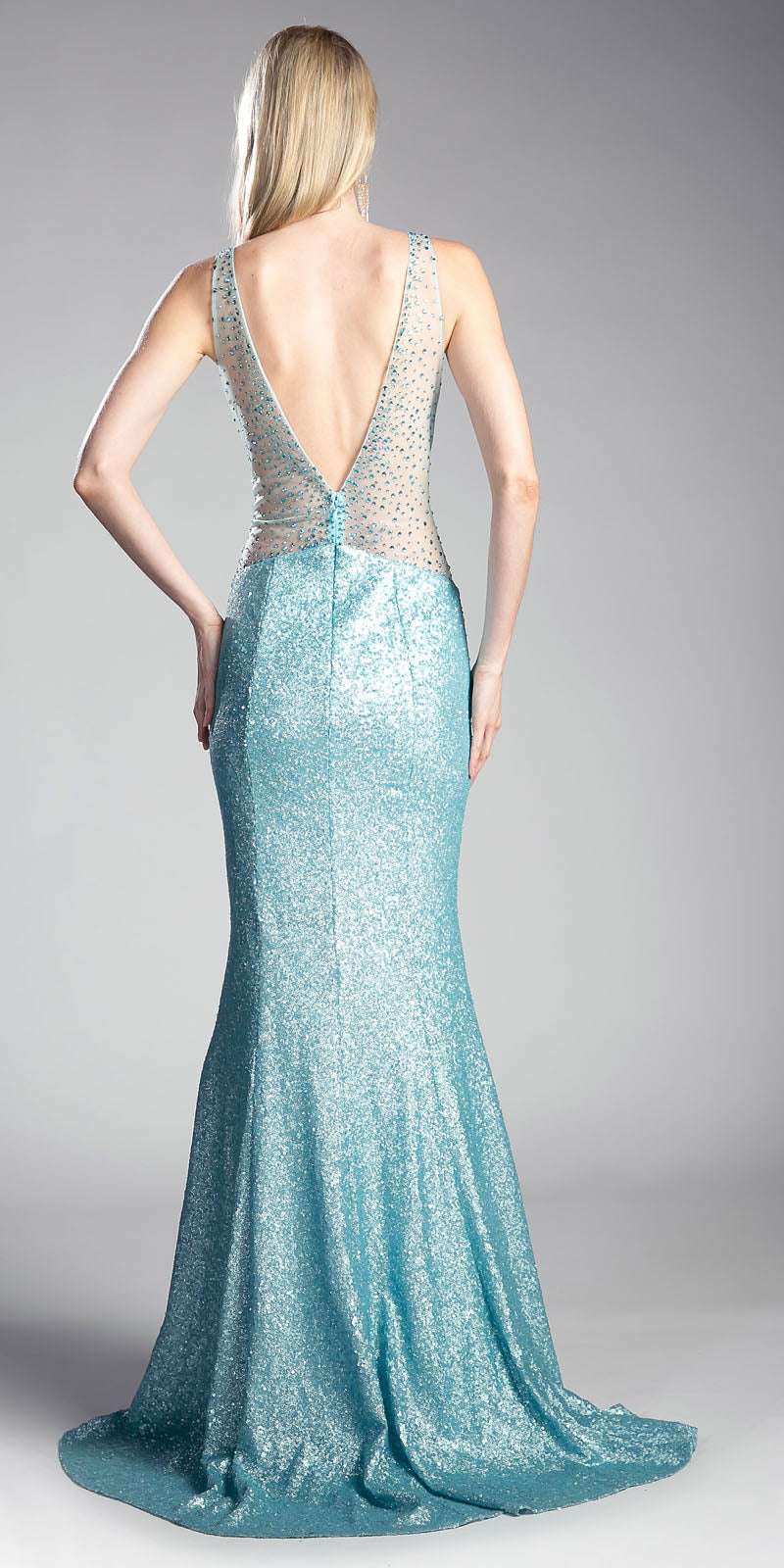 Cinderella Divine CR806 Sequins Beaded V-Back Floor Length Prom ...