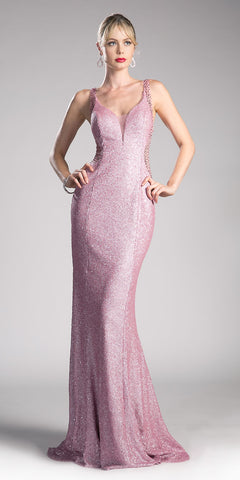 Sequins Beaded V-Back Floor Length Prom Dress Powder Pink