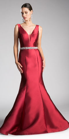 Burgundy Mermaid Evening Gown with Rhinestone-Waist