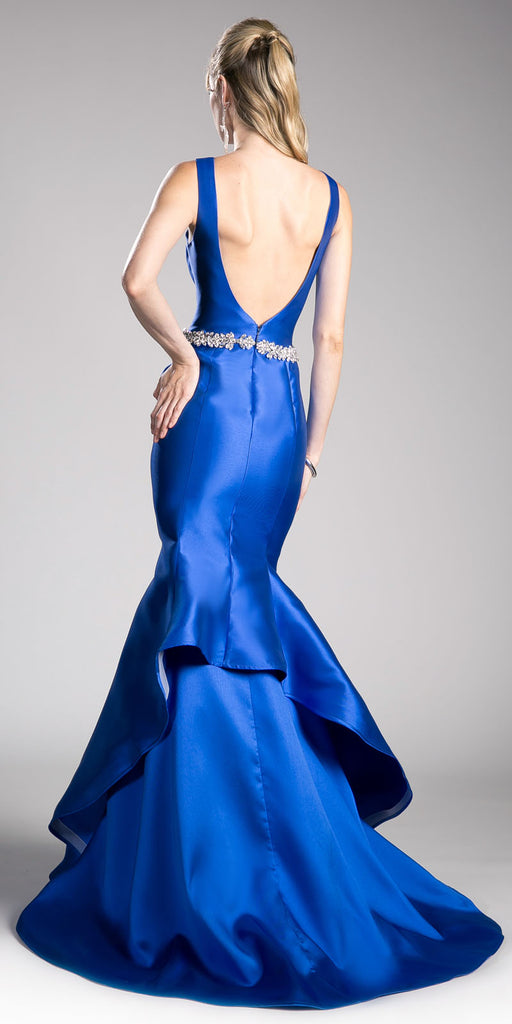 Royal Blue Mermaid Evening Gown with Rhinestone-Waist
