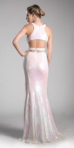 White Halter Mock Two-Piece Prom Gown with Slit
