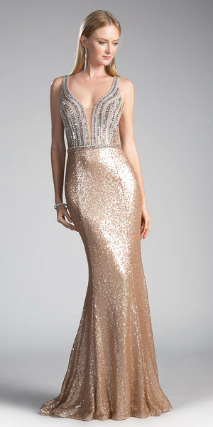 Gold Sequins Long Prom Dress Beaded Bodice Cut Out Back