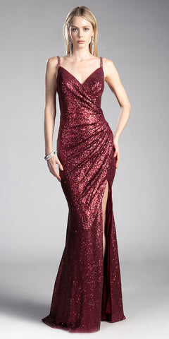 Burgundy Sequins V-Neck Long Prom Dress with Slit