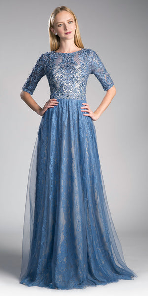 Blue Appliqued Bodice Long Formal Dress Mid-Sleeve