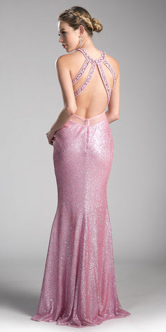 df1cefd3cf Halter Long Sequins Prom Dress Cut-Out Back Pink