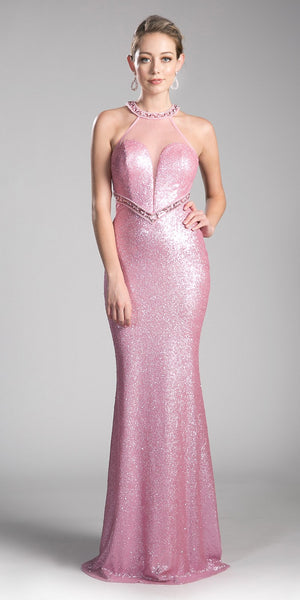 Halter Long Sequins Prom Dress Cut-Out Back Pink
