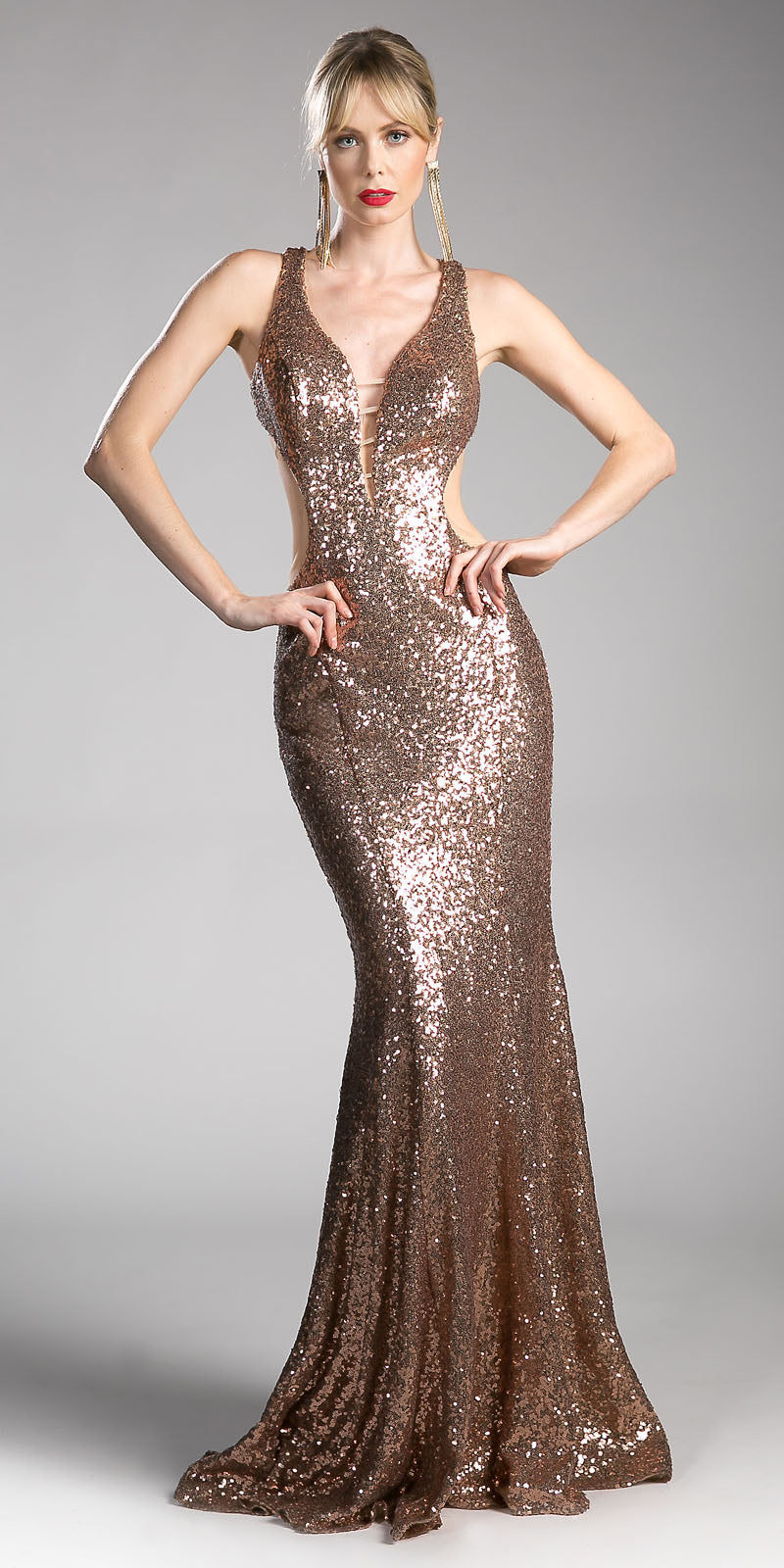f67a82d18b1b Cinderella Divine CR815 Gold Sequins Mermaid Long Prom Dress Cut Out ...