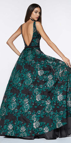 Cinderella Divine CR821 Long Brocade Floral Ball Gown Black/Green Beaded Belt Pockets