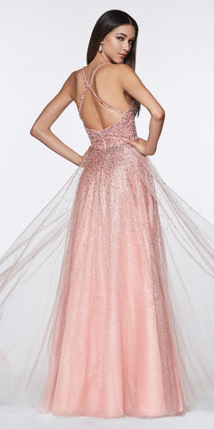 Cinderella Divine CR822 Long A-Line Tulle Gown Rose Gold Beaded V-Neckline Bodice Leg Slit