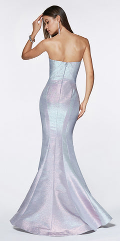 Cinderella Divine CR824 Fitted Strapless Gown Blue Metallic Iridescent Fabric Sweetheart Neckline