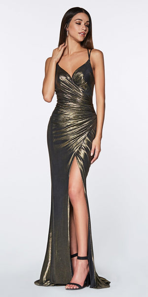 Cinderella Divine CR825 Long Fitted Metallic Gown Bronze Ruched Side Sexy Leg Slit
