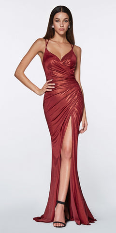 Burgundy Long Formal Dress with Beaded Cold-Shoulder