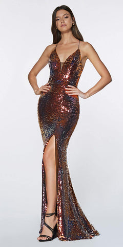 Cinderella Divine CR829 Floor Length Fitted Iridescent Sequin Gown Criss Cross Open Back
