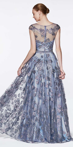 Cinderella Divine CR830 Glitter Floral Ball Gown Perry Blue With Cap Sleeve And Closed Back