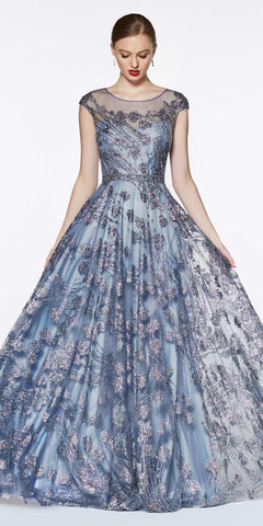 Glitter Floral Ball Gown Perry Blue With Cap Sleeve And Closed Back