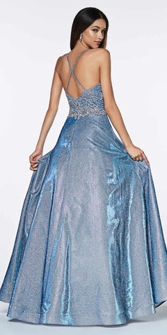 Cinderella Divine CR831 Long A-Line Metallic Glitter Blue Gown Beaded Top Criss Cross Back