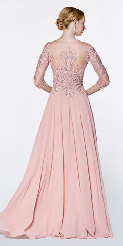Cinderella Divine CR832 Floor Length A-Line Chiffon Gown Blush With Lace 3/4 Length Sleeve