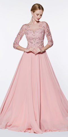 Floor Length Strapless Glitter Ball Gown Prom Blush Leg Slit