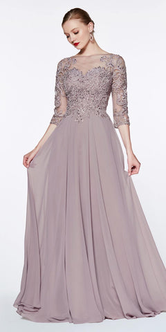 Cinderella Divine CR832 Floor Length A-Line Chiffon Gown Mauve With Lace 3/4 Length Sleeve