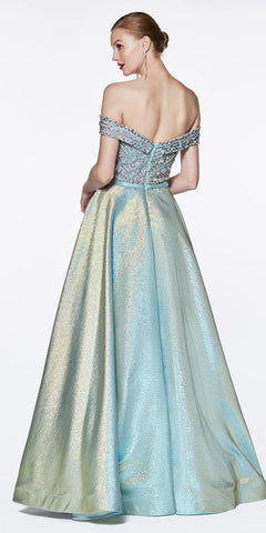 Cinderella Divine CR833 Off The Shoulder Ball Gown Metallic Aqua Beaded Sweetheart Bodice Slit Skirt