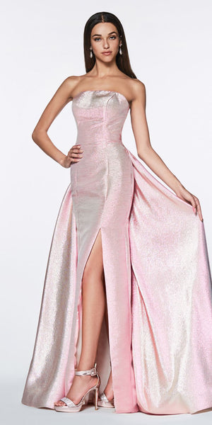Cinderella Divine CR834 Long Strapless Metallic Fitted Gown Pink Over Skirt And Leg Slit