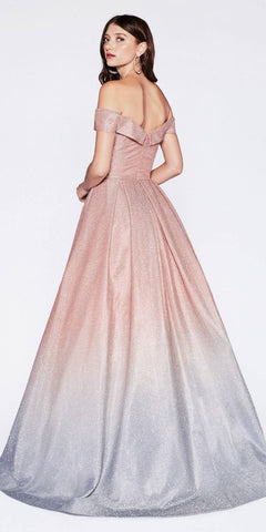 Cinderella Divine CR839 Floor Length Off The Shoulder Gown Glitter Rose Gold Ombre Pockets