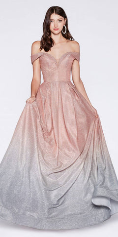 Blush Embroidered Long Quinceanera Dress Cut-Out Back