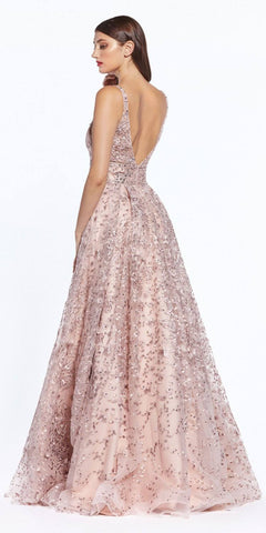 V-Neck and Back Appliqued Long Prom Dress Dusty Rose