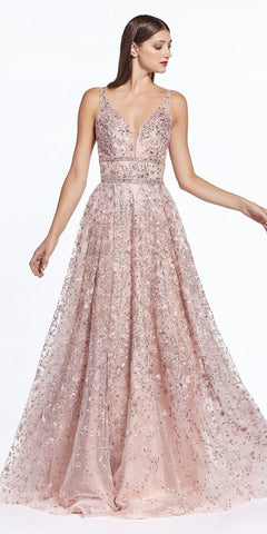 Long Ball Gown Dusty Rose Embellished Lace Top Glitter Details