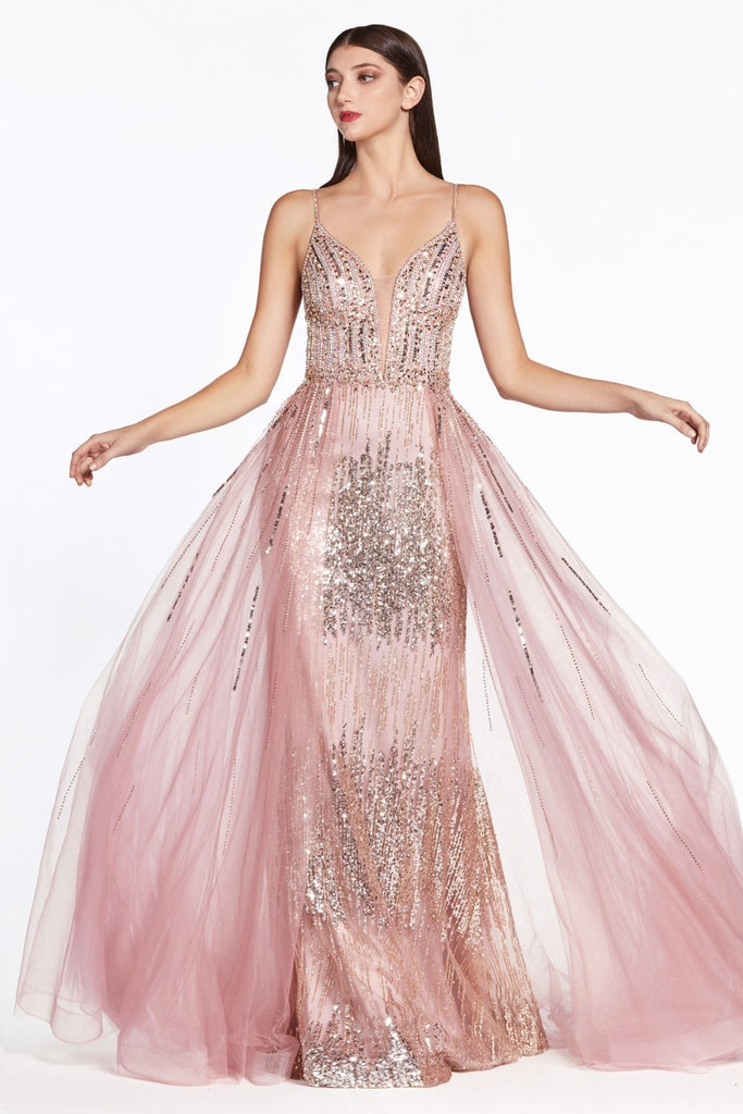 Rose Gold Fit and Flare Long Prom Dress with Cape Skirt