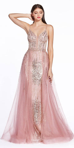Halter Appliqued Long Prom Dress with Slit Mauve