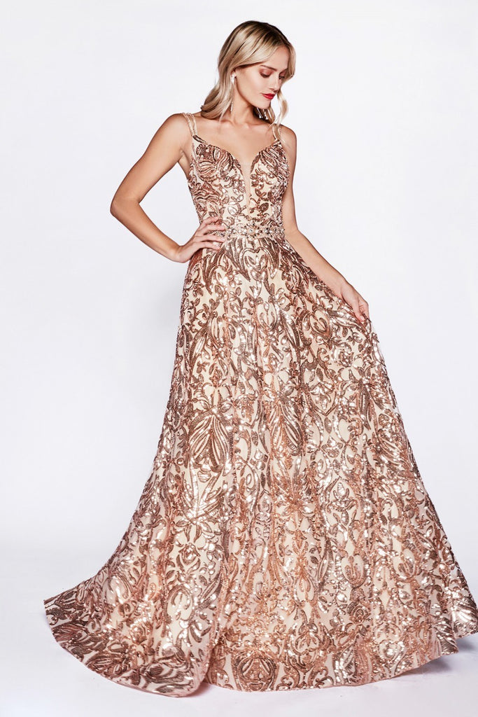Long Sequin Criss-Cross Back Prom Dress Gold