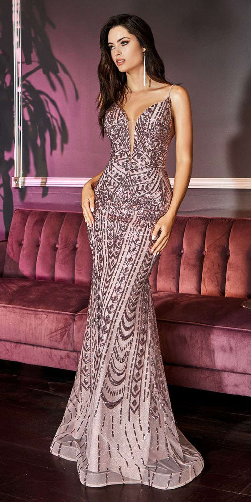 Cinderella Divine CR843 Mauve Sequins Long Prom Dress with Spaghetti Straps