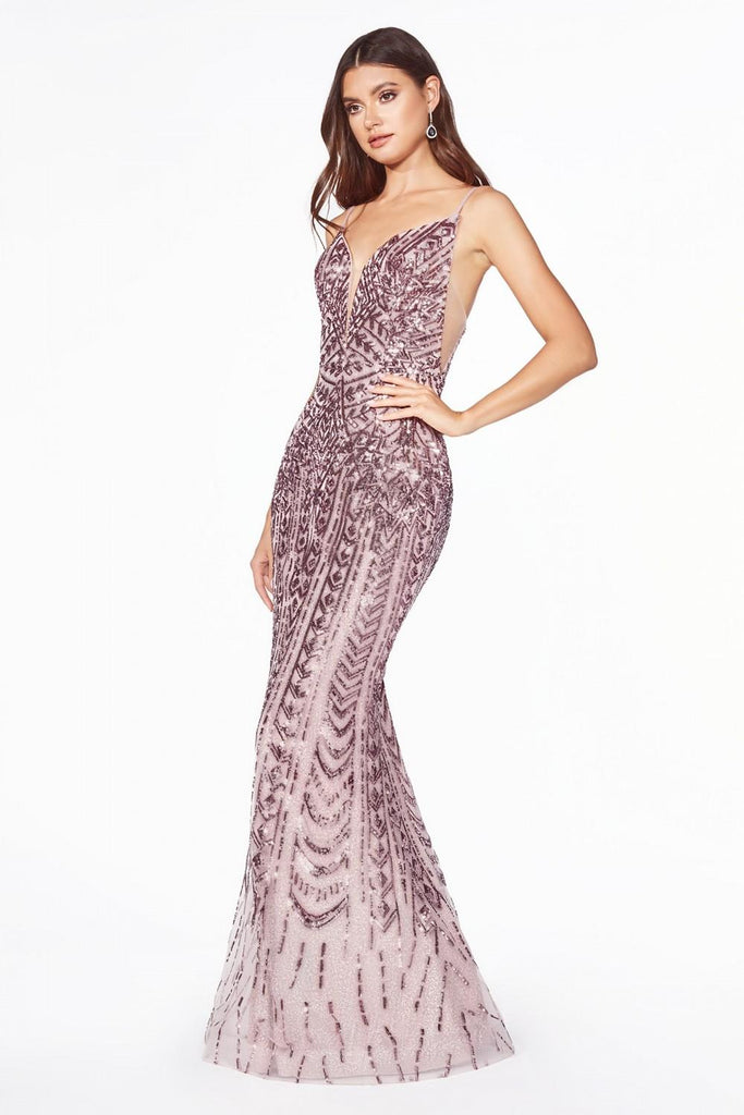 Mauve Sequins Long Prom Dress with Spaghetti Straps
