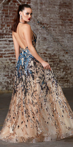 Sequin-Print Multi-Color Halter Long Prom Dress